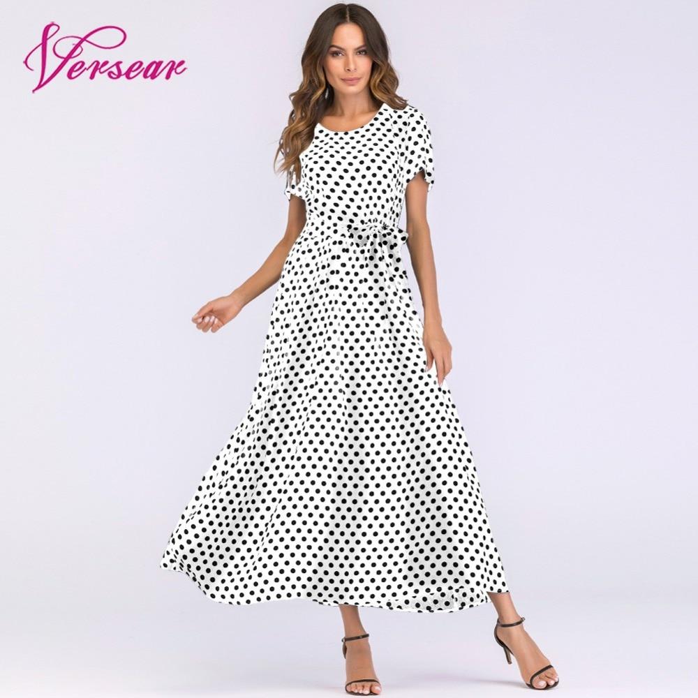 Versear Plus Size Maxi Dress in the Floor Ladies Lace Up Polka Dot Dress  Women Summer Dress 2018 Boho Beach Sundress Vestidos