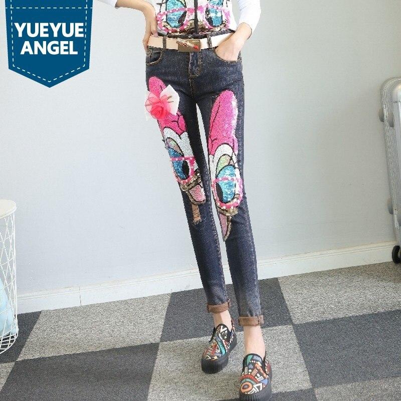 Doux Mode Femmes Denim Pantalon Appliques Patchwork Femelle Crayon Pantalon Perle Paillettes Mignon Jeans Arc Cravate Longue Pantalons Bateau Libre