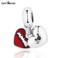 Authentic 925 Sterling Silver Cute Carton Mouse Red Glaze Heart Pendant Bead Charms Fit Pandora Bracelets