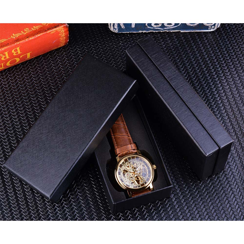 Winner Transparent Golden Case Luxury Casual Design Brown Leather Strap Mens Watches Top Brand Luxury Mechanical Winner Transparent Golden Case Luxury Casual Design Brown Leather Strap Mens Watches Top Brand Luxury Mechanical Skeleton Watch