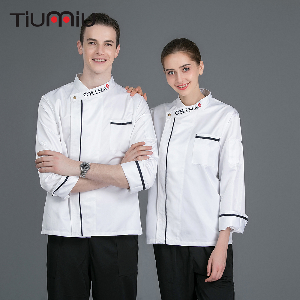 Chinese Restaurant Long Sleeves Double Breasted Chef Coat CHINA Embroidery Bakery Cafe Kitchen Cook Clothes Chef Uniforms Jacket