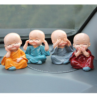 4Pcs Set Little Monks Resin Small Ornaments Chinese Kung Fu Lovely Car Interior Accessories Doll Creative