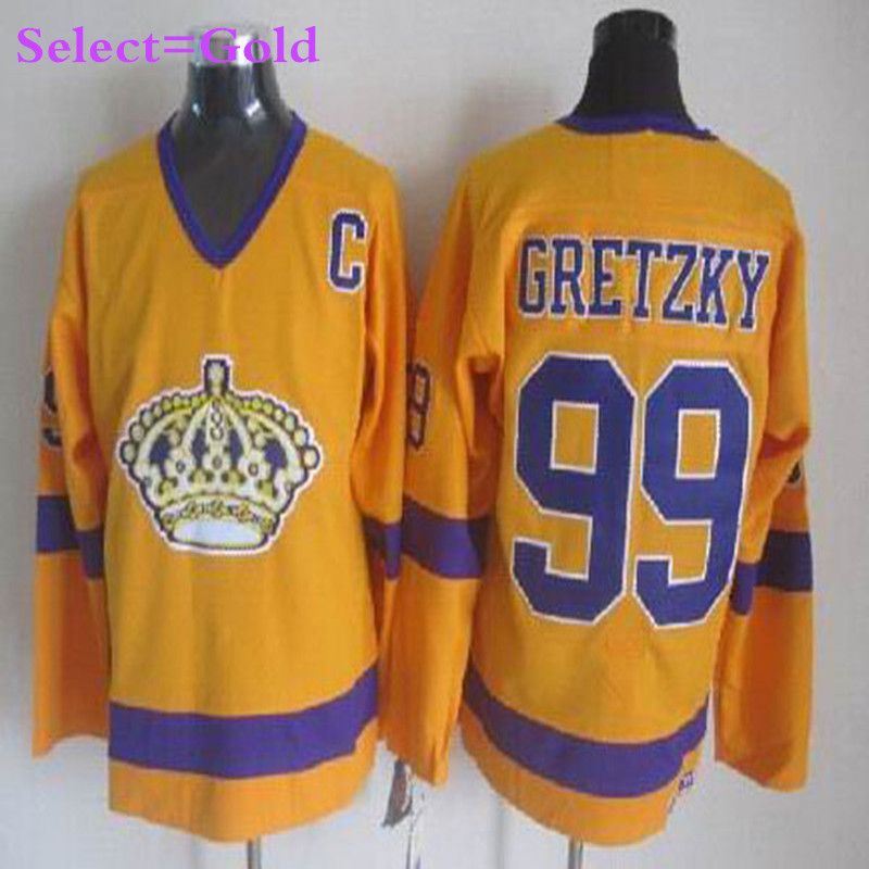 d374bfb9c ... Ccm Vintage Yellow Purple La Mens 99 Wayne Gretzky Black Red Home  Throwback Embroidery Hockey Jerseys White Gold High Quality Los Angeles  Kings ...