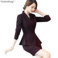 New 2 Piece Set Business Suit women skirt suit high quality slim work wear formal full sleeve ruffles wine blazer and skirt set