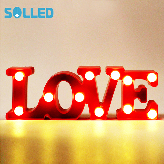 Solled Marquee Letter Lights Led Word Table Lamp Love Alphabet Nightlights Light Up Letters
