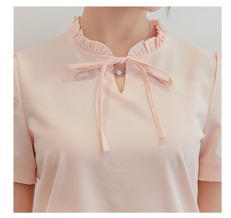 Summer White Blouse 2017 New Fashion Women Short Sleeve Shirts Slim Casual Tops Elegant Lace Up Chiffon Blouses Blusas SF261 10