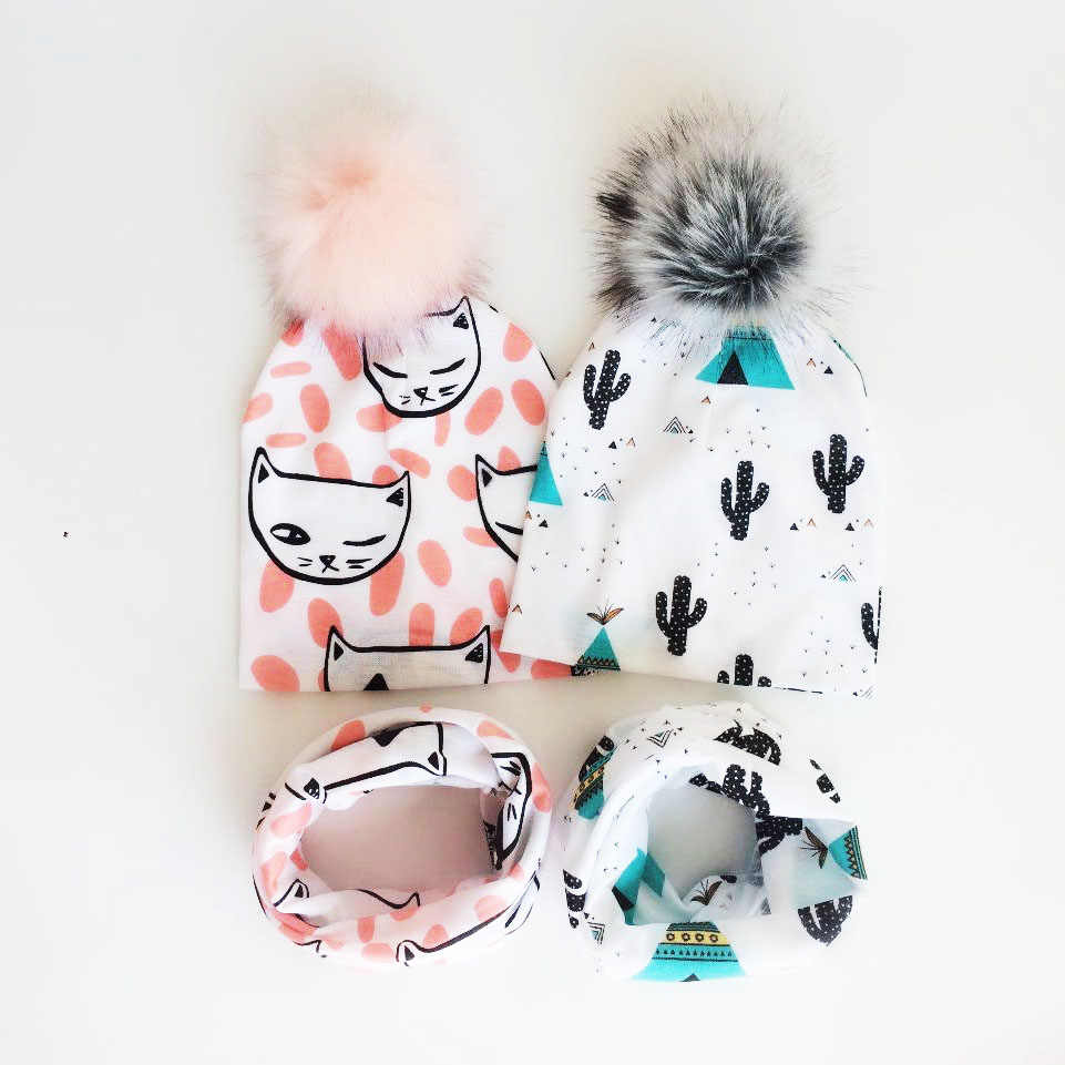 children's  pom pom Hat Autumn Winter Baby Hat Girls Boys Cap Kids Beanie bonnet Collar Scarf set baby cap Photography props