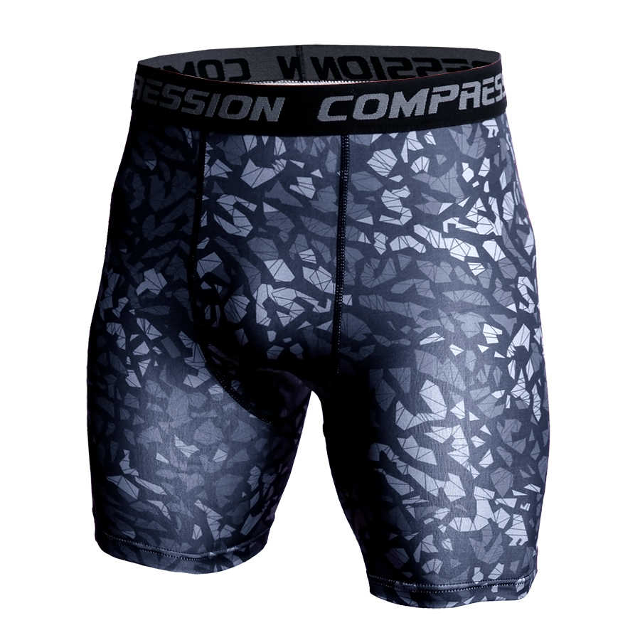 Men Compression Under Layer Short Pants Fashion 3D Print Camouflage Athletic Tights Shorts Bottoms Skinny Shorts Men Bottom