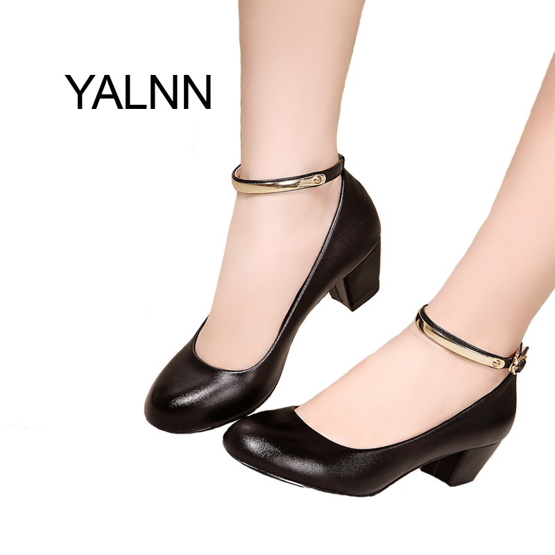 YALNN New Mature Women's High Heels Women Pumps Sexy Bride Party Buckle Thick Heel Pointed Toe Shoes for Girls