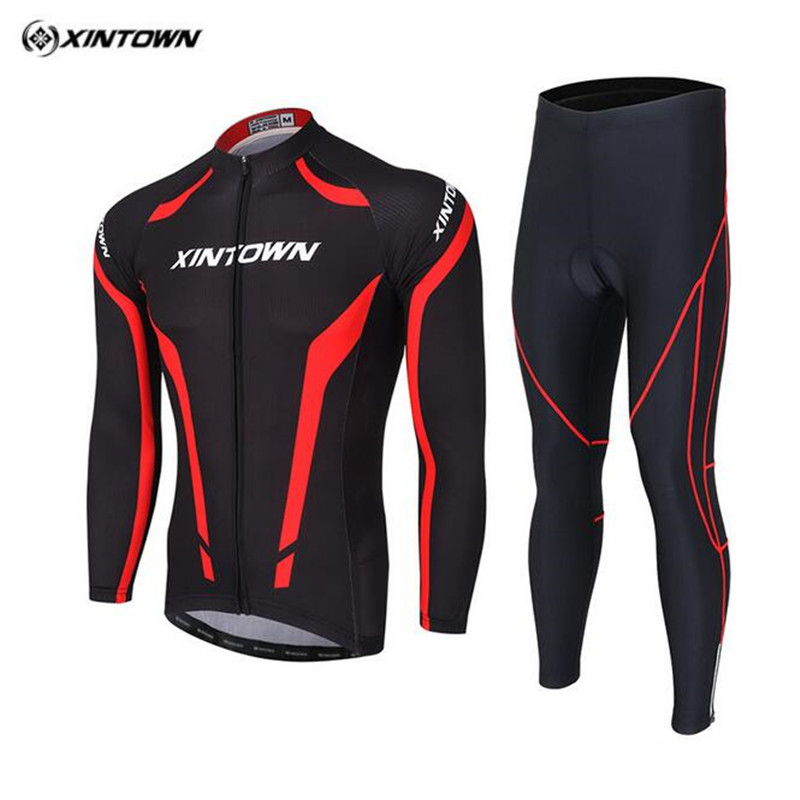 2017 XINTOWN Spring Autumn Long Sleeve Elastic Fabric Quick Dry Ciclismo Mans Woman Cycling Jersey Sets GEL Pad Bicycle Clothing