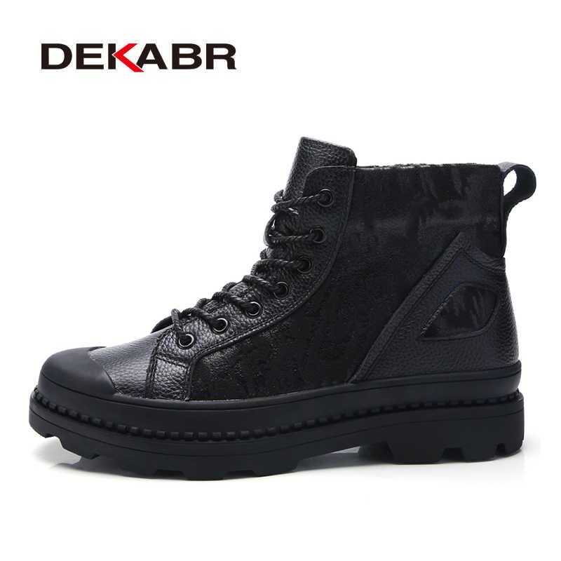 Мужские черные ботинки до щиколотки DEKABR, модные брендовые мотоциклетные ботинки из натуральной кожи, зима 2019