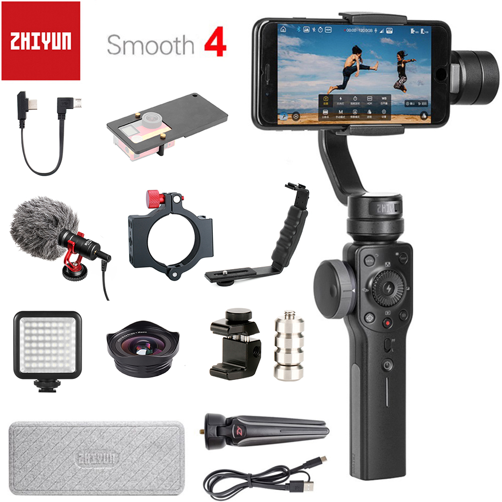 Zhiyun Suave 3-Eixo Smartphones Handheld Cardan Estabilizador para iPhone 4 XS XR X 8Plus 8 7P 7 6S Samsung S9 S8 S7 & Action Camera