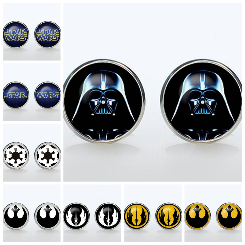 Superheroes Shirt Cufflinks Star Wars Fashion Plated Round Glass Cuff  Mans Accessories Empire Sign Sleeve Button Man Gift