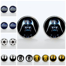 Superheroes Shirt Cufflinks Star Wars Silver Plated Round Glass Cuff Mans Accessories Empire Sign Sleeve Button Man Gift(China)