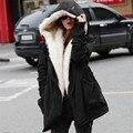 Cor sólida pele parkas mujer, acolchoado de algodão com capuz jaqueta casaco de inverno mulheres, casual parka femme, braço feminino jaqueta de inverno TT1562