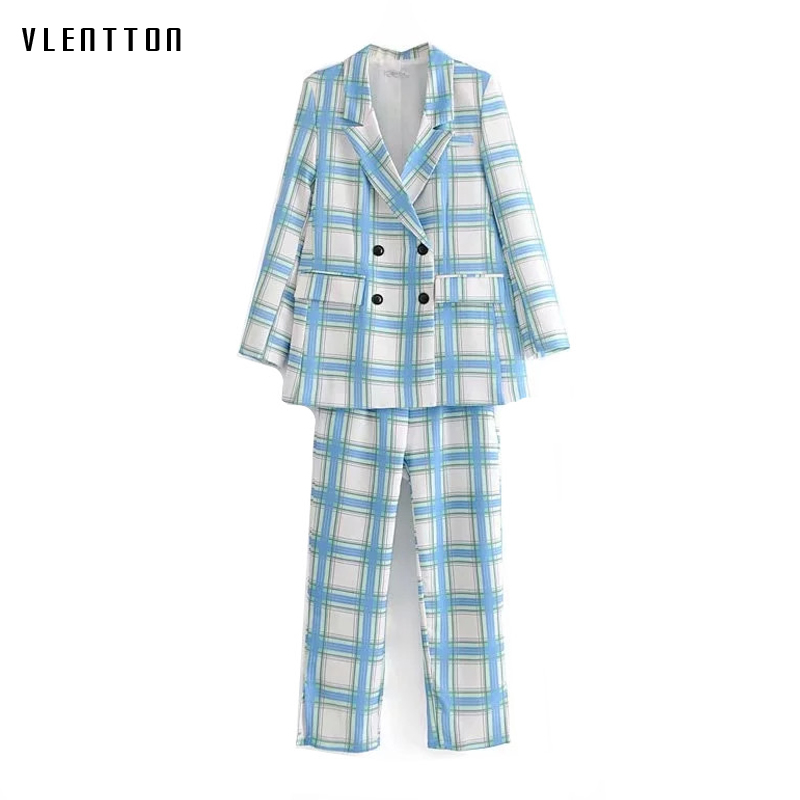 Spring Vintage Women's Pant Suits Double Breasted Long Sleeve Office Blazer Jacket And Nine Pants Sets Plaid 2 Piece Set Women