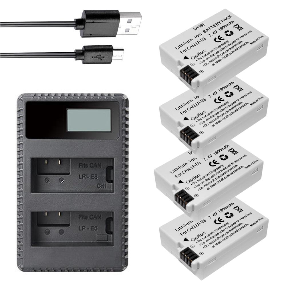 DVISI 4 pièces LP-E8 LPE8 Batteries rechargeables + LCD double chargeur USB pour Canon 550D 600D 650D 700D T2i T3i T4i Kiss DSLR appareil photo