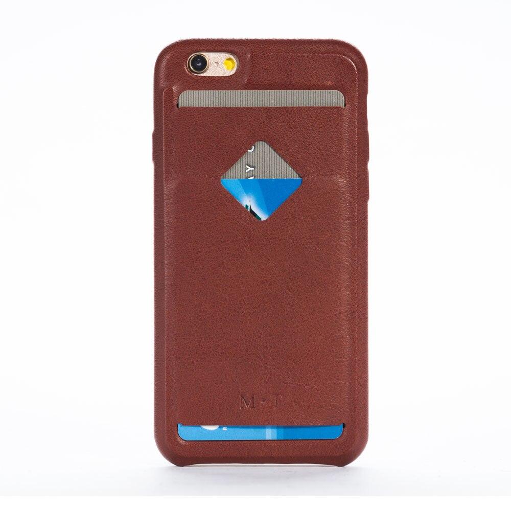 Nouveauté coque de téléphone solide en cuir de vache pour iphone 6 6s avec porte-carte de crédit livraison gratuite