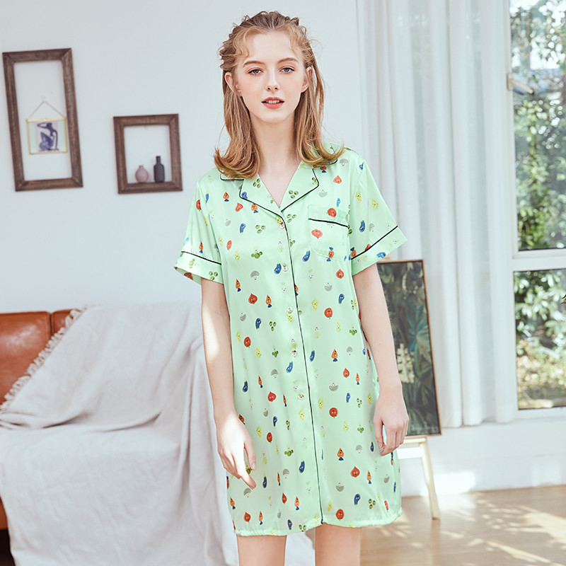 Sleepwear Women Summer Sexy Turn-down Collar Printed Home   Nightgowns   Sweet Cute Casual Daily Sleep Dress   Sleepshirts