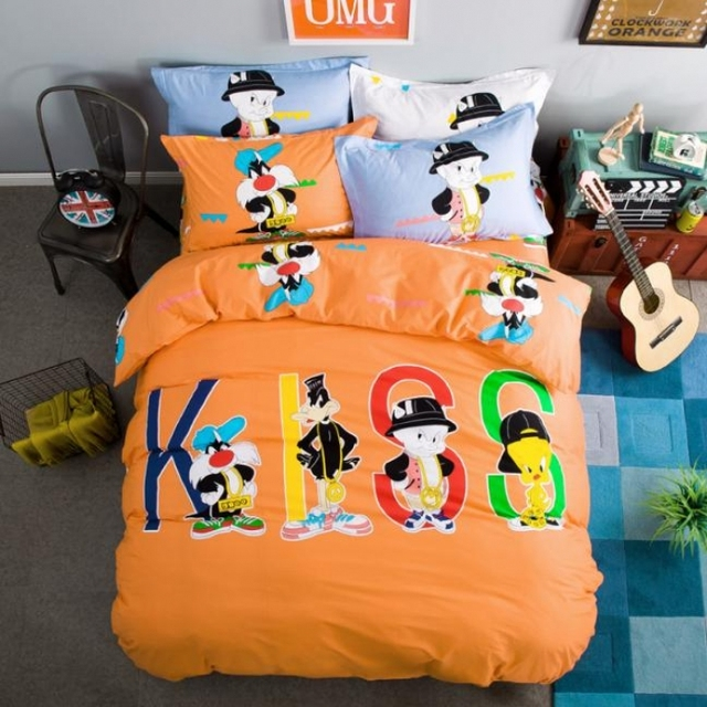 Kiss Bedding Set Orange Cartoon Cotton Comforter Cover Close Skin Bed Sheets  For Kids Queen Size