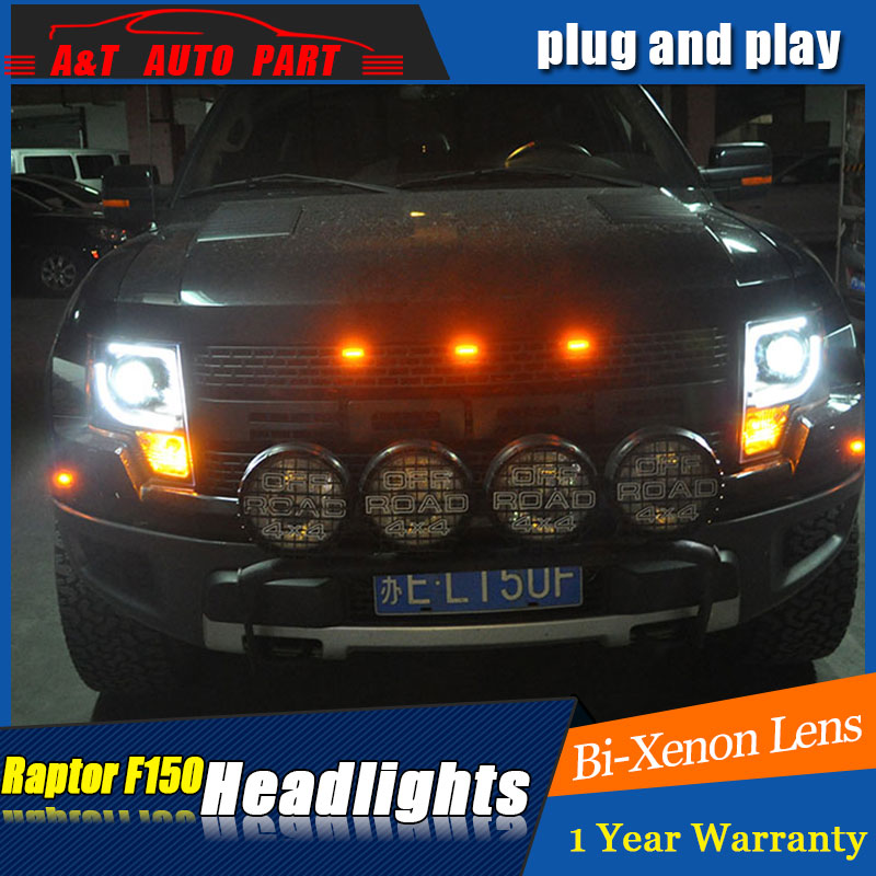 car Stylign LED Head Lamp for Ford raptor F-<font><b>150</b></font> led headlights 2009-2012 for F150 drl <font><b>H7</b></font> hid Bi-Xenon Lens angel eye low beam image