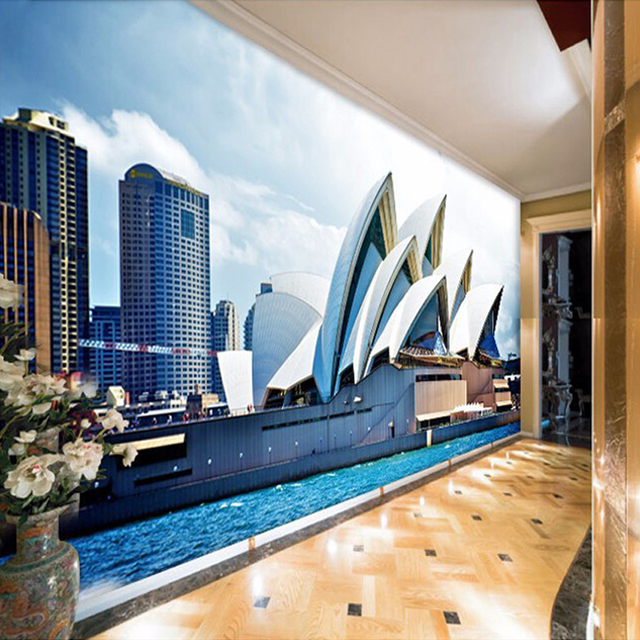 Custom 3D Foto Behang Moderne Architectuur Landschap Art Kantoor ...