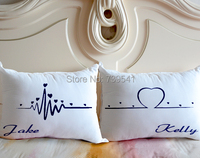 Wholesale custom couple pillow set personalized wedding pillow his and hers pillowcase mr mrs wife and husband