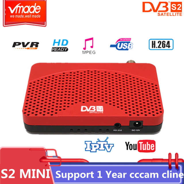 Vmade جهاز استقبال قمر صناعي رقمي عالي DVB S2 مصغر كامل HD 1080P موالف التلفزيون USB 2.0 دعم Biss Youtube متعدد اللغات DVB صندوق التلفزيون