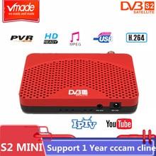Vmade alta digital receptor de satélite dvb s2 mini hd completo 1080 p tv tuner usb 2.0 suporte biss youtube multi idioma dvb caixa de tv