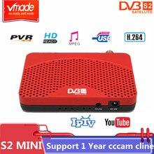 Vmade digitales de alta calidad receptor de satélite DVB S2 mini full HD 1080P sintonizador de TV USB 2,0 Biss Youtube Multi idioma TV box DVB