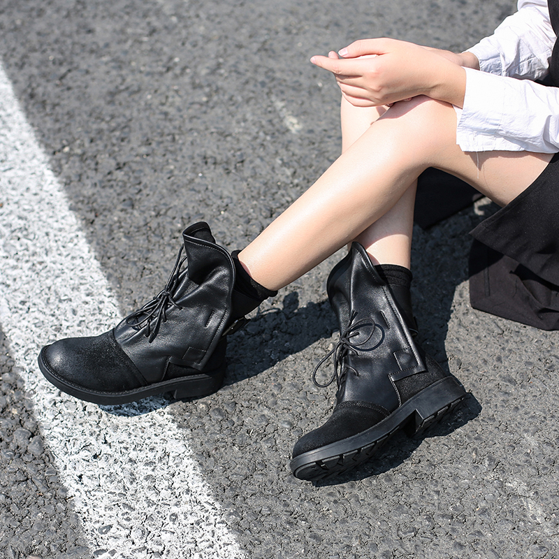 Women Leather Martin Boots Low Heels Winter 2018 Shoes For Women Lace Up Ankle Boots Black