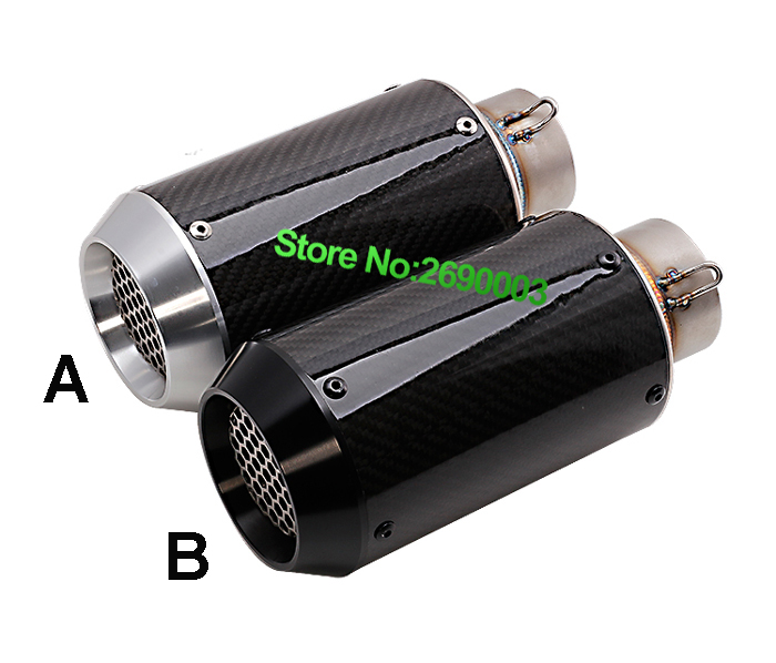 Carbon Fiber Motorcycle Modified Exhaust Pipe CNC net nozzle Carbon Fiber Muffler 61 caliber for Z800 BN600 CBR1000 motorcycle performance exhaust pipe cnc carbon fiber oval tube large displacement car brothers exhaust pipe id 51mm
