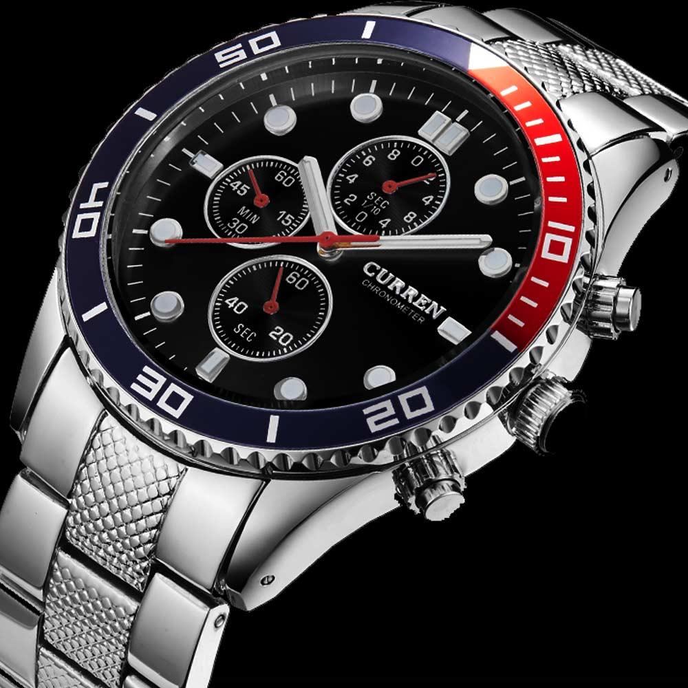 Prix pour Hot nouvelle mode célèbre curren marque casual hommes homme d'affaires horloge en acier militaire armée classique de luxe poignet quartz montre cadeau