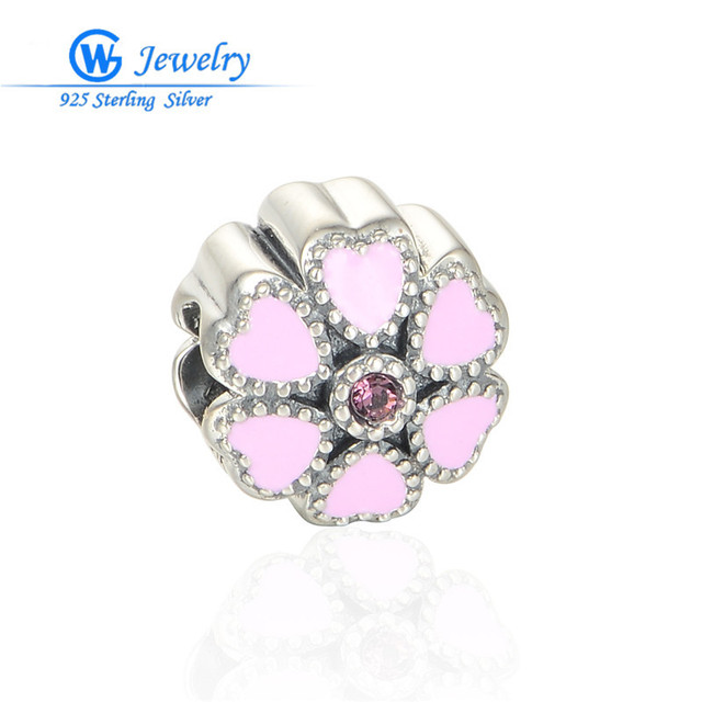 New! Enamel Charms 925 Sterling Silver Pink Flower Beads Charm Fits For Snake Chain Bracelet GW Fine Jewelry D102H30