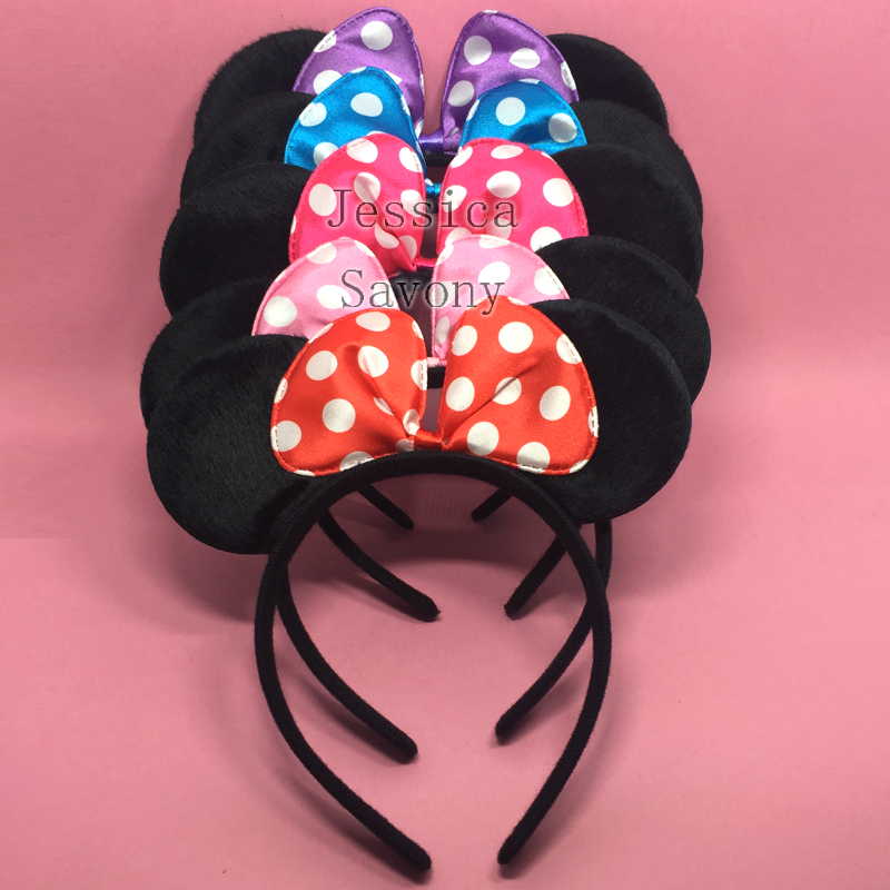 2pcs Cute Bows Minnie Mouse Ears Party Kids Headbands Girl Adult Mickey Mouse Hairband Birthday Supplies Party Hair Accessories