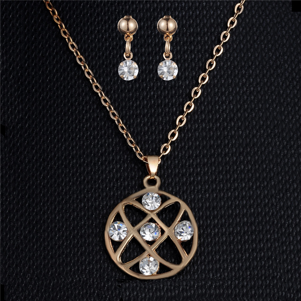 Round Circle Pendant Necklace Rhinestone Jewelry Set Gold Earring Set For Women Wedding Party Girl Gift Engagement Jewelry