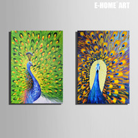 Free Shipping E HOME Stretched Canvas Art Peacock Decoration Painting Set Of 2 Home Decor On