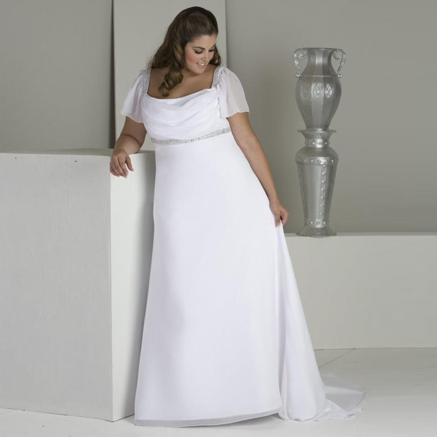 Charming Square Neck Plus Size Wedding Dress Vestido De Noiva Short Sleeves Beading Sequins Chiffon Beach Bridal Gown