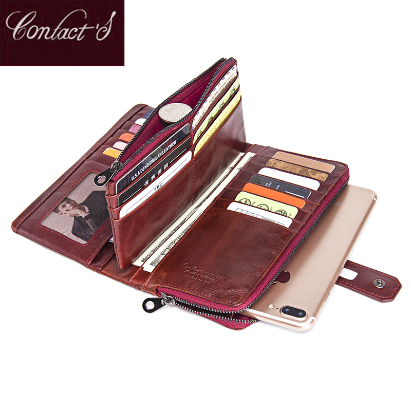 Genuine Leather  Women Wallets 2018 Hot Long Organizer Wallet Fashion Cowhide Hasp Vintage Lady Clutch Carteira Feminina Purses