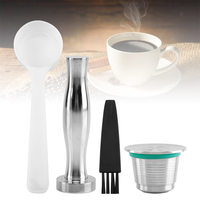 Stainless Steel Reusable Coffee Capsules Kit Metal Mesh Coffee Filter Refillable Coffee Capsules for Nespresso Machine