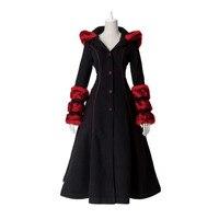 Готическая Лолита панк зима для женщин с капюшоном тонкий благородный тренчи для косплэй костюм вечерние шерстяное пальт