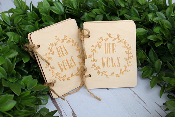 His And Her Gifts For Wedding: Custom Engraved Wedding His Her Rustic Wood Vow Book Set