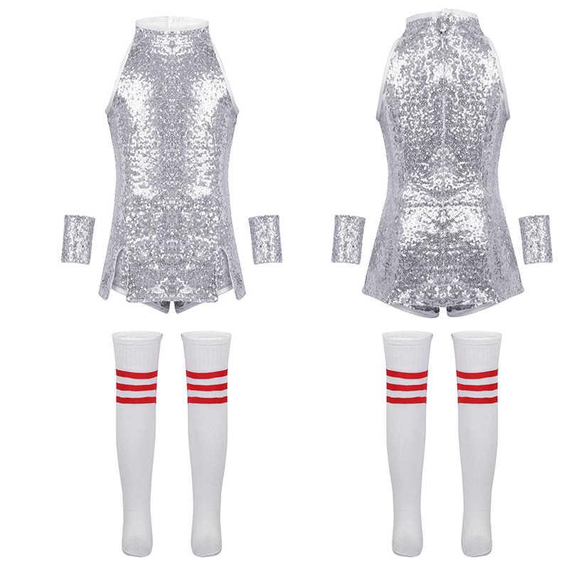 TiaoBug/детский хип-хоп джазовый танцевальный сценический костюм для девочек, топ на бретелях с блестящими блестками и шорты носки, комплект детской танцевальной одежды
