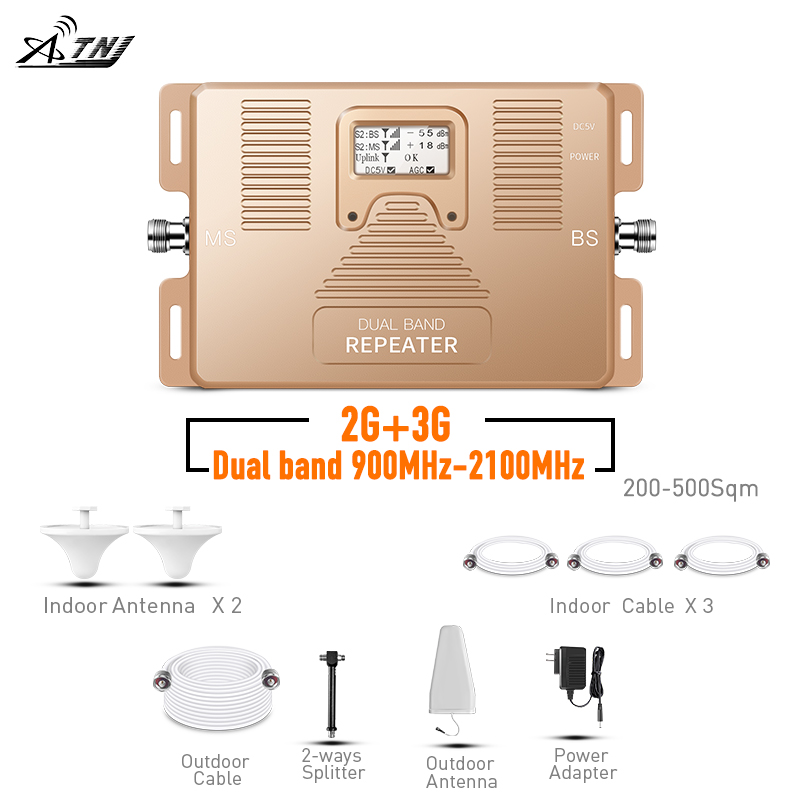 2020 HOT LCD Display 3G WCDMA 2G 2100MHz GSM 900Mhz Dual Band Cell Phone Amplifier  GSM 2g 3g UMTS Signal Repeater Booster