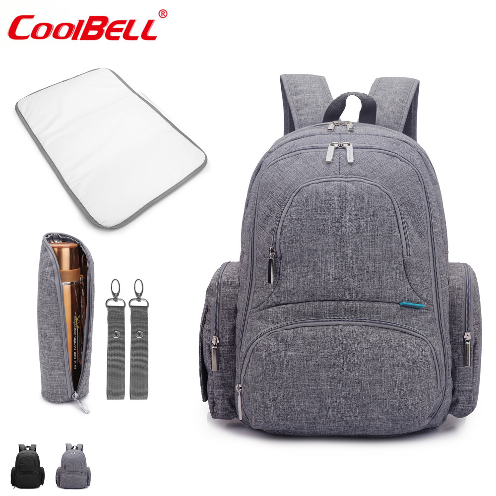 CoolBell Multifunctional Nylon Baby Bag Large Capacity Diaper Nappy Bag Backpack Travel Knapsack Including Changing Pad
