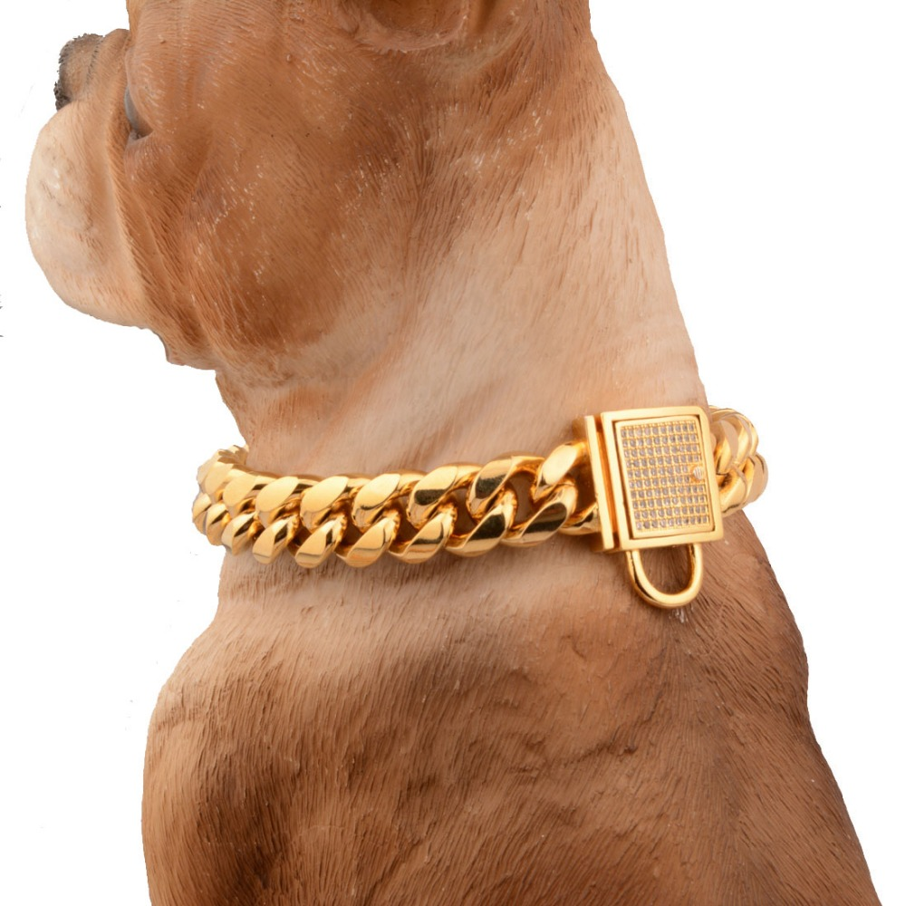 14mm Strong Gold Stainless Steel Lock Buckle Dogs Training Choke Chain Collars for Large Dogs Pitbull Bulldog Slip Dog Collar