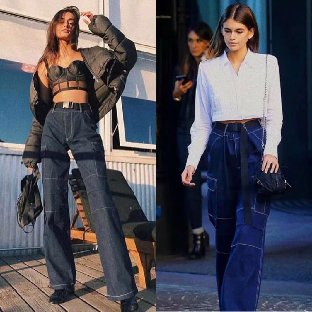 Streetwear Cargo Pants Women Casual Joggers Navy Blue High Waist Loose Female Trousers Korean Style Ladies Pants Capri L186