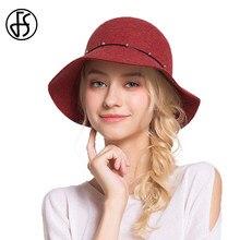 FS de Feltro de Lã Inverno chapéu de Feltro de Aba Larga Para A Qualidade  Das Mulheres chapéu Feminino Chapéus Cloche Bowler Fed. ce6ccdfc947