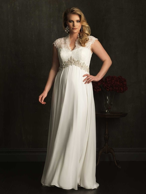 Modest Empire Waist Chiffon Plus Size Wedding Dresses Lace Cap Sleeves Casual Beach Bridal Party Gown