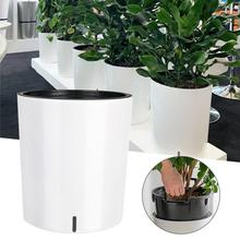 Self-Watering Planter Decorative Planter Pot for Outdoor or Indoor Garden Elegant Plastic Wicker Rattan Look Design